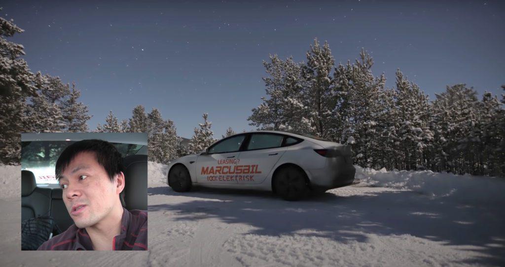 KULDETEST: Elbiltester Bjørn Nyland drar gjerne til Folldal når han skal teste ut å tilbringe en natt i bilen i -26 grader. Foto: Teslabjørn/ Youtube