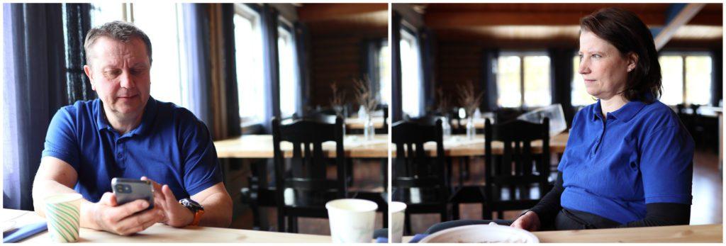 SAMARBEIDER: Ole og Ellen har hver sine roller. For Ellen har Atnasjø kafé blitt hovedjobben. Hun har ansvaret for den daglige driften og kjøkkenet. Ole jobber egentlig med trafoer, og hjelper kona i helger og ferier. Vasker gulv og toaletter, som han selv sier.